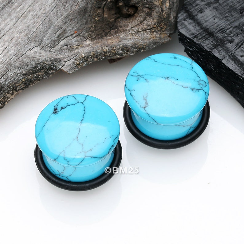 A Pair Of Turquoise Stone Single Flared Plug With O-Ring