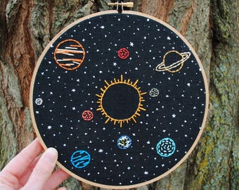 """Space Embroidery Art, hand stitched Solar System - 8"""" hoop, Sun and planets in orbit, stars"""