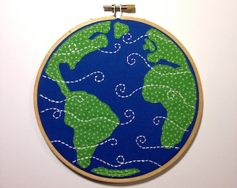 """Planet Earth Embroidery Hoop - 6"""" hand stitched hoop art - continents, mother Earth - blue, green - nature - wall art - gift - world - globe"""