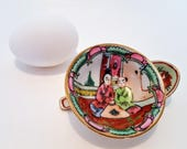 Miniature Chinese Famille Rose Bowl And Dragon Phoenix Spoon Hand Painted Porcelain Gold Trim Qianlong Nian Zhi Marks 1960s