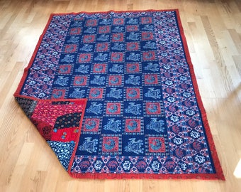 Indian Quilt with Patchwork and Red/Blue Panel
