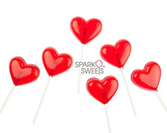 12 Heart Lollipops for Valentines and Party Favors Handcrafted by Sparko Sweets