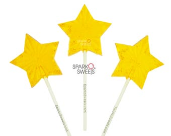 Yellow Bright Star Lollipops Fireworks Candy (24 Pieces) by Sparko Sweets