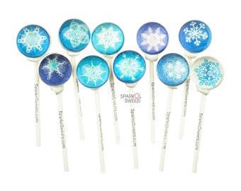 Sparko Sweets Frozen Snowflakes 3D Lollipops (10 Unique Designs) Handmade Gourmet Candy
