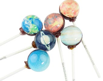 Sparko Sweets Galaxy Lollipops (8 Planet Designs) Handmade Gourmet Candy Exquisite Gift Pack