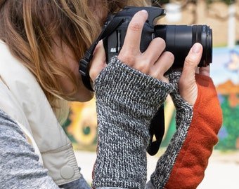Pumpkin Wrist Warmers. Tweed Wool Gloves for Women. Orange Fleece Fingerless Mittens. Photographer Gift under 40.