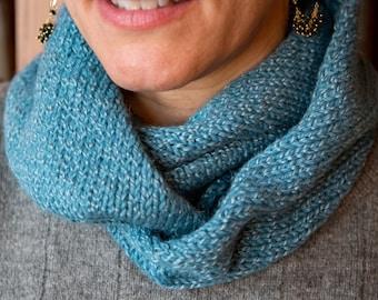 Blue Knit Alpaca Scarf. Infinity Scarf Girlfriend Gift. Soft Luxury Neck Warmer for Women. Handmade Gift for Her under 50.