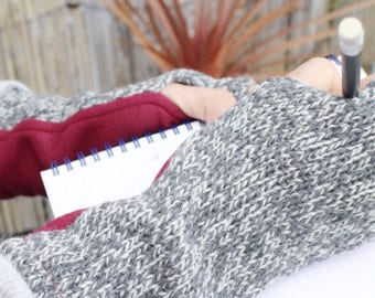 Charcoal Arm Warmers Journaling. Red Fingerless Gloves for Women. Gray Knit Wrist Warmers. Unique Gift under 40.