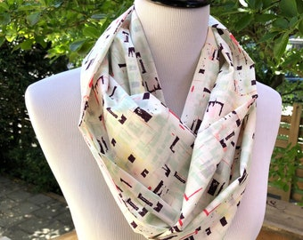 Abstract Print Cotton Infinity Scarf for Women, Geometric Pattern Fall Cowl, Birthday Gift for Mom.