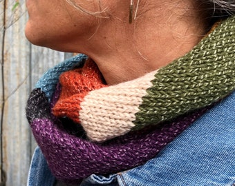Colorful Infinity Scarf. Unique Gift for Women. Alpaca Striped Cowl. Soft Merino Wool Neckwarmer.