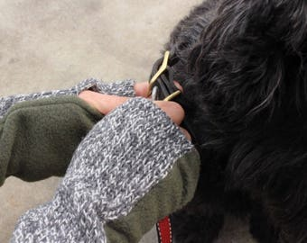 Olive Green Fingerless Gloves, Gray Wool Fingerless Mittens, Knit Arm Warmers for Women, Dog Lover Gift.