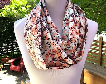 Fall Flower Print Cotton Scarf, Lightweight Infinity Cowl, Modern Floral Pattern, Gift for Women