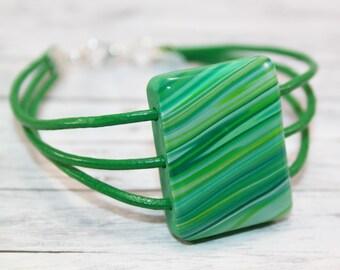 Green striped bracelet