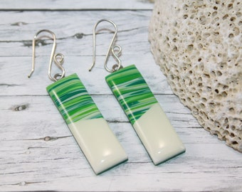 Green striped earrings