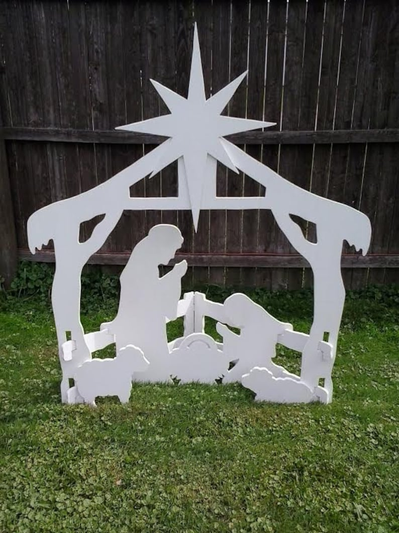 Christmas Outdoor Nativity Scene Outdoor Wood Yard Art Lawn image 0
