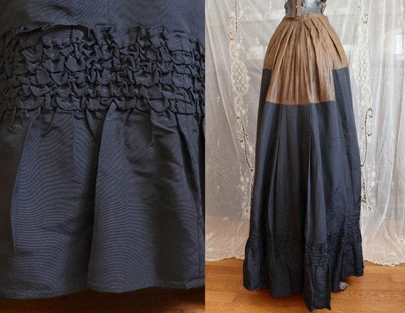 Antique Victorian Black Silk Bustle Skirt - 1890s… - image 1