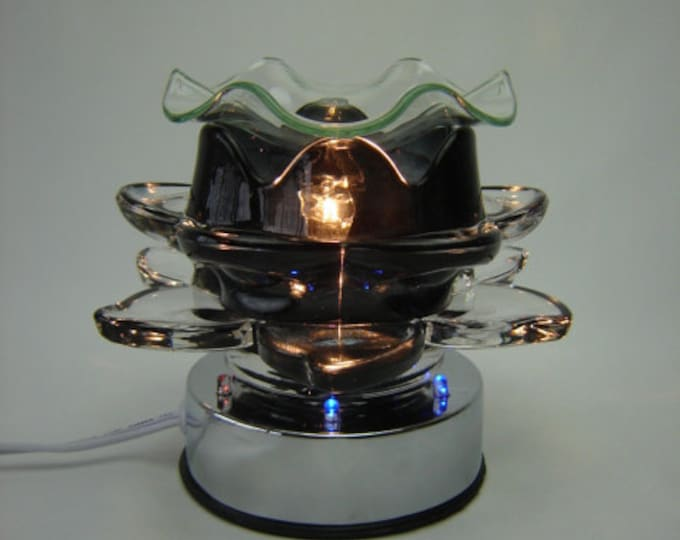 NEW Black Lotus Aroma Fragrance Oil Lamp, Oil Burner, Black Tart Warmer, Candle Wax Warmer, Aroma Oil Burner