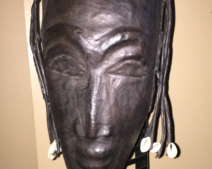 New Handmade Black Leather Mask  Gris Gris Bag, Spell Bag, Black Leather Face Purse, Leather Mask Wall Art,