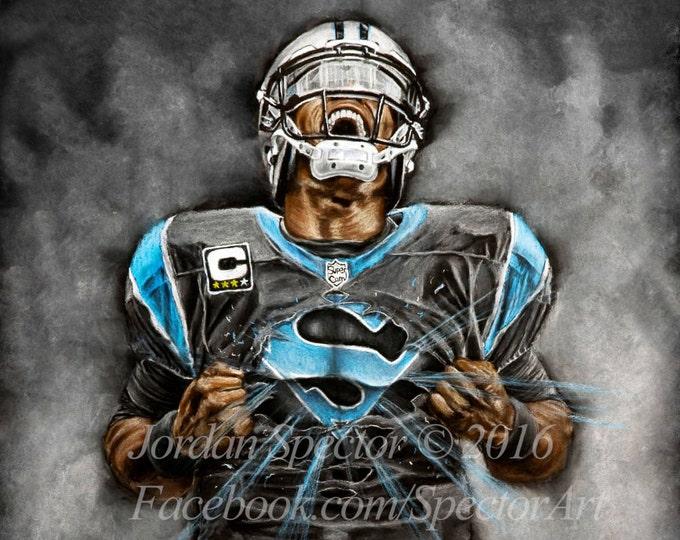 Carolina Panthers - Cam Newton - Art Print - Superman - Wall Art - Man Cave Art - Panthers Decor - Dorm Decor - Panthers Gifts - Super Cam
