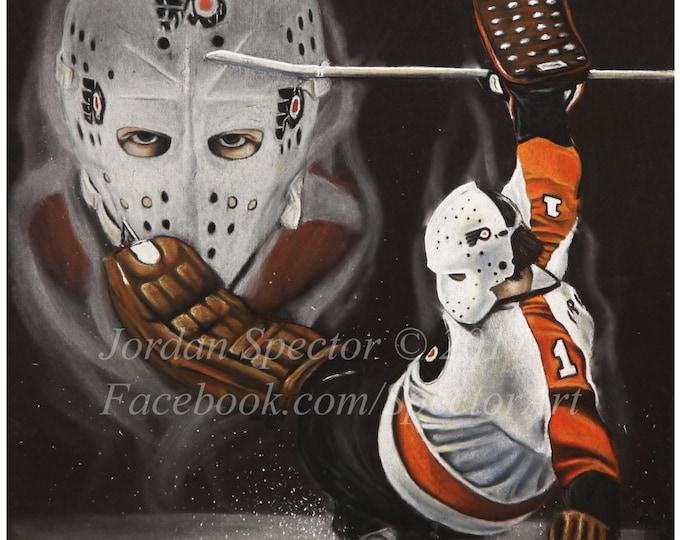 Bernie Parent - Philadelphia Flyers - Art Print - Philadelphia Art - Man Cave - Flyers Painting - Dorm Decor - Flyers Fans - Flyers Hockey