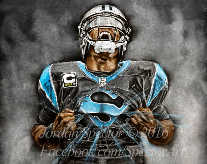 Cam Newton - Art Print - Carolina Panthers - Wall Art - Man Cave Art - Panthers Decor - Dorm Decor - Panthers Gifts - Super Cam - 16x20