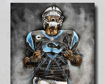 24257e7ce Carolina Panthers - Cam Newton - Canvas Print - Wall Art - Man Cave -  Panthers Decor - Dorm Decor - Panthers Gifts - Super Cam - Panthers