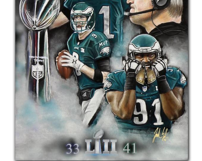 Philadelphia Eagles - Super Bowl LII - Artwork -Nick Foles MVP - Super Bowl - Fletcher Cox - Carson Wentz - Man Cave - Philadelphia
