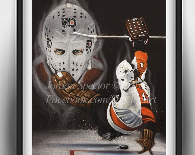 Philadelphia Flyers - Bernie Parent Art Print - Philadelphia Art - Man Cave Art - Flyers Painting - Dorm Decor - Flyers Fans - Flyers Hockey