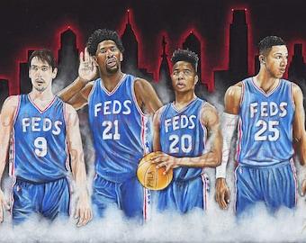 f5b9bab60ec Philadelphia 76ers - Sixers - Phila Sixers - Feds - Trust The Process -  Joel Embiid - Markelle Fultz - Ben Simmons - Man Cave - Sixers Art