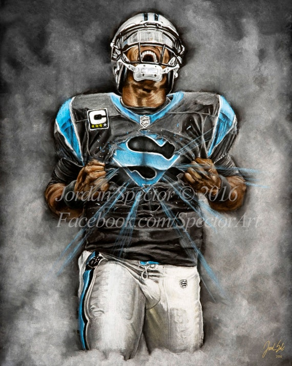 Cam 16x20 Gifts Super Art - Carolina Dorm Cave Wall Newton Man Print Panthers Decor
