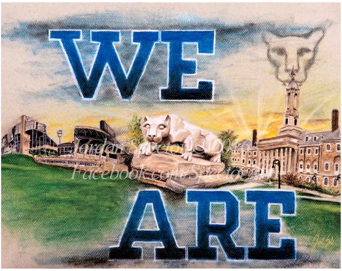 Penn State Art - We Are - Penn State Decor - PSU Gift - Wall Art - Dorm Decor - College Art - Penn State Football - Nittany Lion