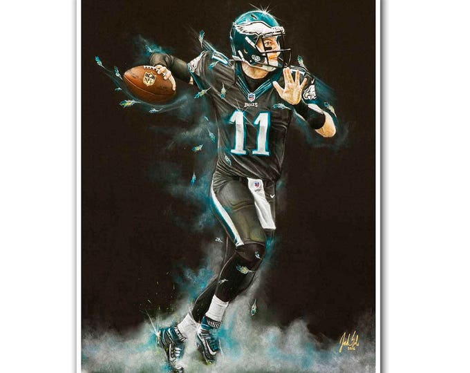 Philadelphia Eagles - Carson Wentz Art Print - Carson Wentz - Wall Art- Man Cave Art - Eagles Decor - dorm decor - Eagles Gifts - Gift Idea