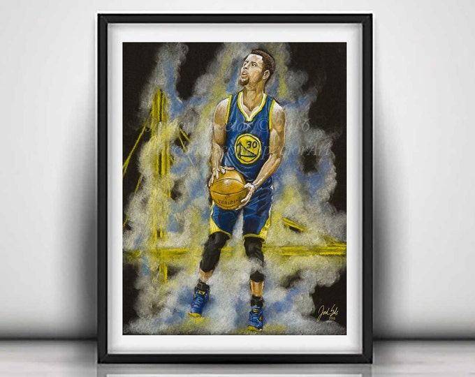 Golden State - Steph Curry Art Print - Warriors - Chef Curry - Steph Curry Wall Art - Warriors Decor - Dorm Decor - Limited Edition