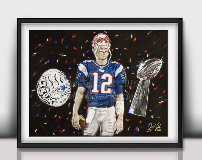 "Tom Brady ""5 rings"" open edition art print - 16x20 inches"