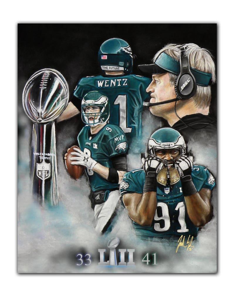a238b13dd2e Philadelphia Eagles Super Bowl LII Artwork Nick Foles MVP | Etsy