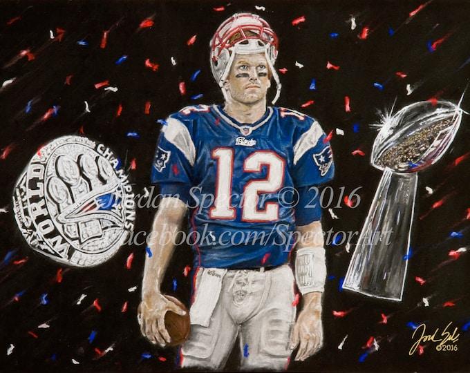 New England Patriots - Tom Brady - Art Print - Wall Art - Patriots - Man Cave - Patriot Decor - Dorm Decor - Patriot Gifts - Illustration
