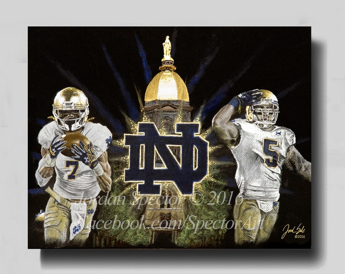 Notre Dame - Notre Dame Football - Canvas Print - The Fighting Irish - Wall Art- Man Cave Art - Notre Dame Dorm Decor - Gifts Ideas