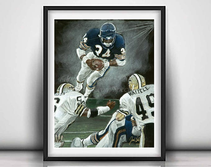 "Walter Payton ""The Great Leap"" Limited Edition art print - 20x24 inches"