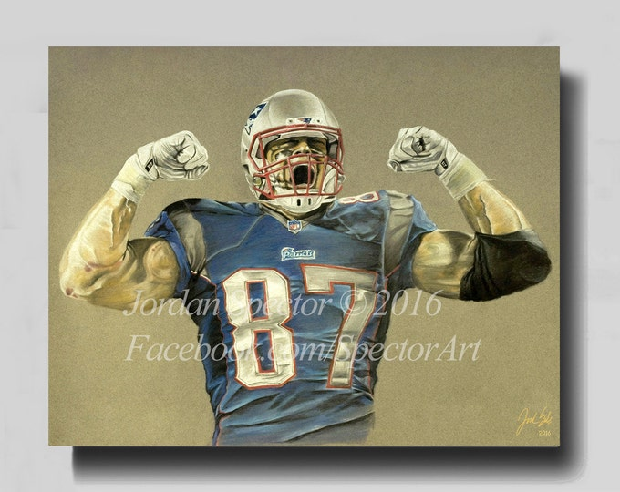 New England Patriots - Rob Gronkowski - Canvas Print - Patriot Wall Art - Gronk - Man Cave - Patriots Decor - Dorm Decor - Gifts for Him