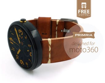 Handmade Leather Straps compatible with moto 360 / 1st Gen