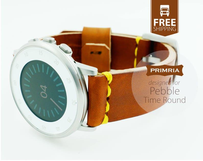 Pebble Time Round / Premium Handmade Leather Straps image 0