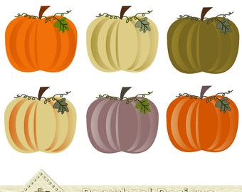 Six Little Pumpkins -- Halloween - Fall - Thanksgiving  -- Digital Clip Art Pack -- Printable -- Personal and Commercial Use