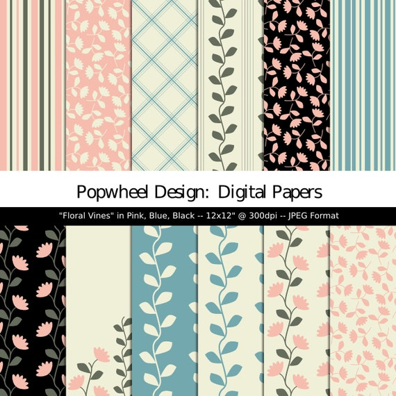 Floral Vines Flower Patterns Scrapbooking Paper 12x12 Etsy