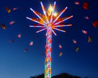 Fair Ride at Night - 4x4 Photo Print - Colorful Rainbow Lights