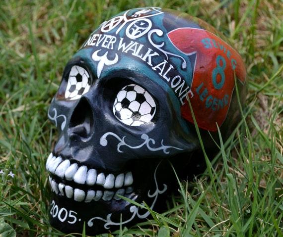 Handgemachte Fussball Liverpool Maskottchen Trophy Kugeln Anfield Stevie G Werden Sie Nie Gehen Sugar Skull