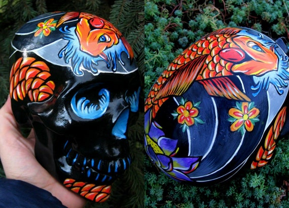 5a74e3fdb5a10 Unique Handmade Handpainted Tattoo Japan Japanese Koi Fish | Etsy