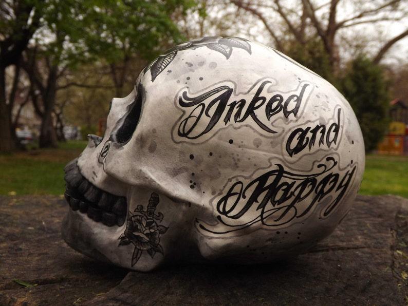4f50e5c237463 Unique Handmade Handpainted Tattoo Ink Inked Tattoed Happy | Etsy