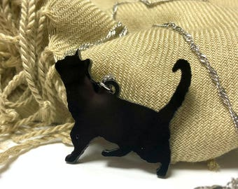 Black Acrylic Cat necklace, for small gifts