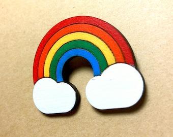 Wood Rainbow Brooch, small gift