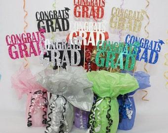 Congrats Grad Sign, Available in 8 Glitter Card Stock Colors, Graduation Decoration, Graduation Centerpiece Sign, Graduation Photo Prop
